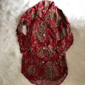 Ralph Lauren Red Paisley Print Flannel Sleep Dress